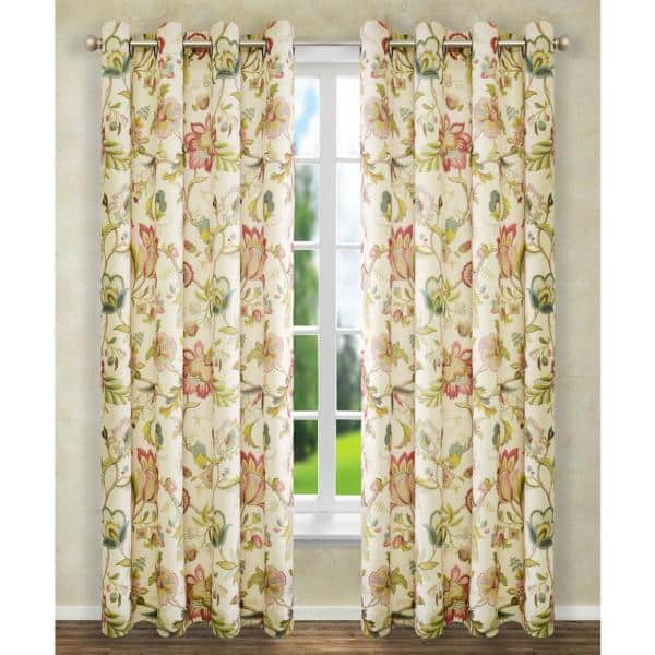 Red Pink Floral Grommet Room Darkening Curtain 50 In W X 63 In L 730462118189 The Home Depot