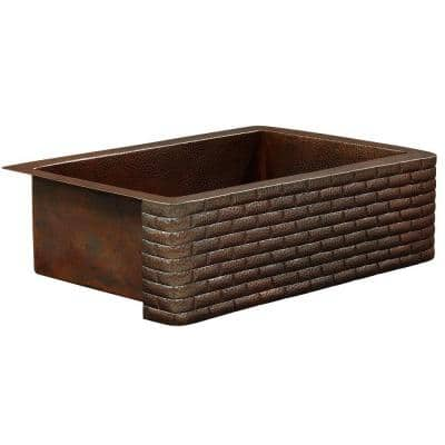 Rodin Farmhouse Apron Front Handmade Pure Solid Copper 25 in. Single Bowl Copper Kitchen Sink with Brick Design