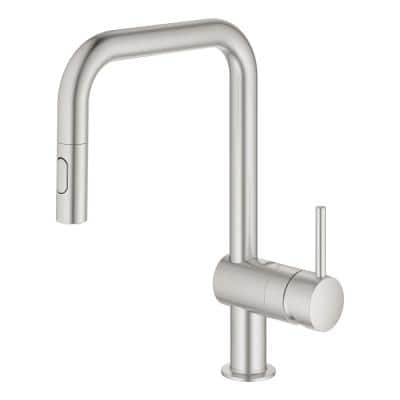 Minta Single-Handle Dual Spray Pull-Out Sprayer Kitchen Faucet 1.75 GPM with U-Shaped Spout in SuperSteel InfinityFinish