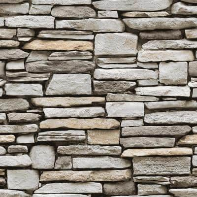 Grey Stone Peel and Stick Wallpaper (Covers 56 sq. ft.)