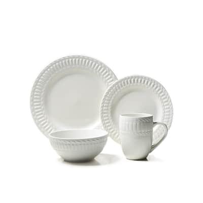 16-Piece Casual Off White Stoneware Dinnerware Set (Service for 4)