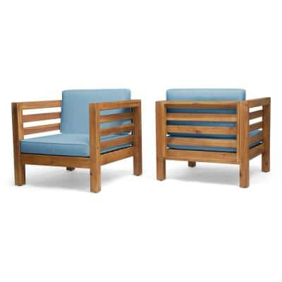 Oana Teak Brown Removable Cushions Wood Outdoor Lounge Chairs with Blue Cushions (2-Pack)