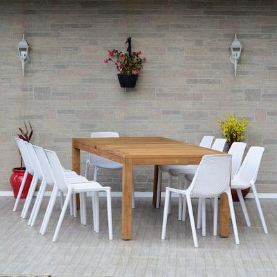 San Diego 11-Piece Teak Rectangular Patio Dining Set