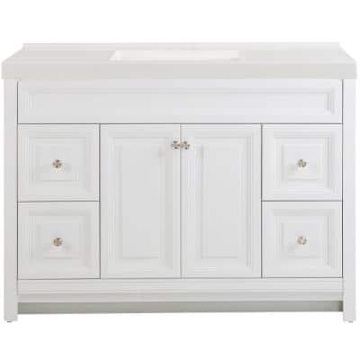 Brinkhill 49 in. W x 22 in. D Bath Vanity in White with Cultured Marble Vanity Top in White with White Sink
