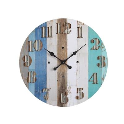 Multi-Color Striped Wood Wall Clock