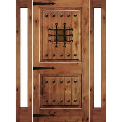 76 in. x 96 in. Mediterranean Alder Sq-Top Clear Low-E Unfinished Wood Right-Hand Prehung Front Door/Full Sidelites