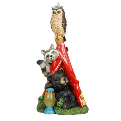 Solar Camping Nature Pals Statue with LED Lights