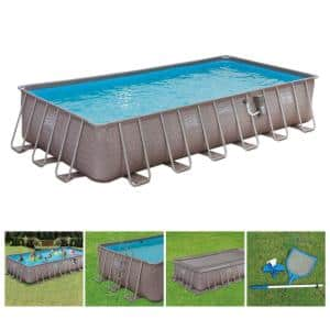 12 ft. x 24 ft. x 52 in. Rectangle 52 in. D Above Ground Frame Swimming Pool Set
