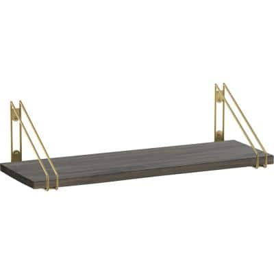 24 in. x 8 in. x 6 in. Dark Stainless Solid Pine Decorative Wall Shelf with Brushed Brass Wire Frame Steel Brackets