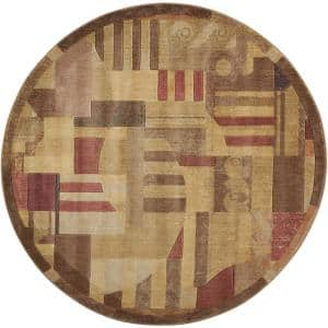 Somerset Multicolor 6 ft. x 6 ft. Abstract Art Deco Round Area Rug