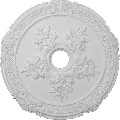 """26"""" x 3-3/4"""" ID x 1-1/2"""" Attica with Rose Urethane Ceiling Medallion (Fits Canopies up to 4-1/2""""), Primed White"""
