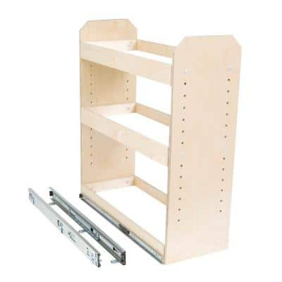Made-To-Fit 6 in. to 12 in. wide 3 Tier Adjustable Tower Cabinet Organizer, Full Extension, Poly-Finished Birch wood