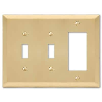 Metallic 3 Gang 2-Toggle and 1-Rocker Steel Wall Plate - Satin Brass