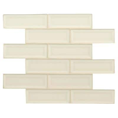 Antique White Beveled 12 in. x 12 in. x 10mm Glossy Ceramic Mesh-Mounted Mosaic Wall Tile (10 sq. ft. / case)