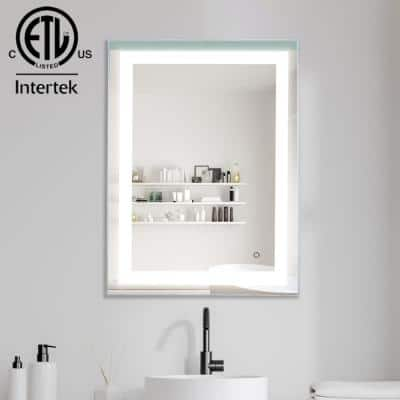 24 in. W x 32 in. H Frameless Rectangular Anti-Fog LED Light Bathroom Vanity Mirror in Brushed Nickel