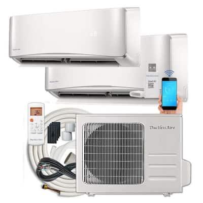21 SEER 27, 000 BTU 2.25 Ton Dual-Zone Ductless Mini Split Air Conditioner with Heat Pump - 230-Volt/60Hz