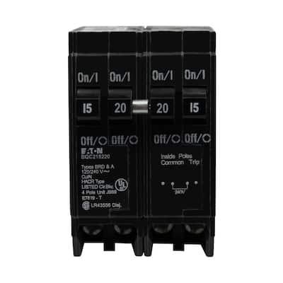 BR 1-15 Amp 2 Pole and 1-20 Amp 2 Pole BQC (Common Trip) Quad Circuit Breaker