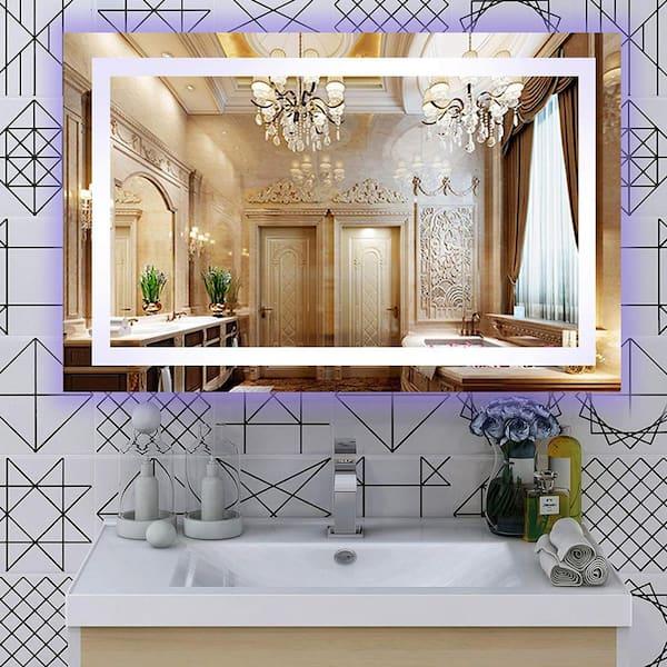 Vanity Art 39 5 In W X 28 5 In H Frameless Rectangular Led Light Bathroom Vanity Mirror In Clear Va52 The Home Depot