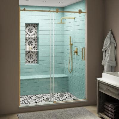 Coraline XL 48 - 52 in. x 80 in. Frameless Sliding Shower Door with StarCast Clear Glass in Brushed Gold Right Hand