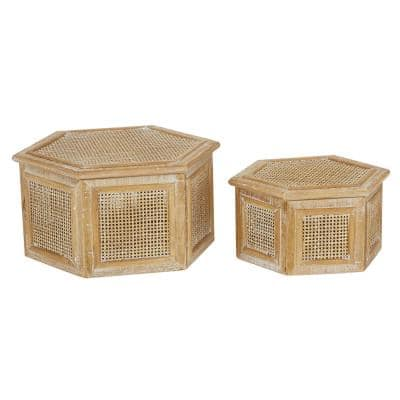 Table Display Rattan Box With Lid, 2-Piece Hexagon Farmhouse Style, Brown
