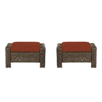 Laguna Point Brown Wicker Outdoor Patio Ottoman with Standard Quarry Red Cushions (2-Pack)