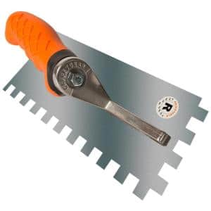 Ergonomic 1/2 in. x 1/2 in. x 1/2 in. Stainless Steel Square Notched Flooring Trowel with Adjustable Handle