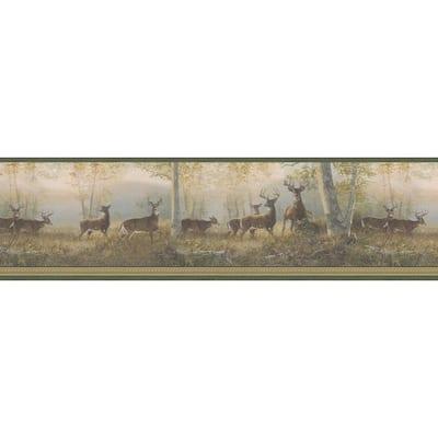 Running Green Deer Green Wallpaper Border