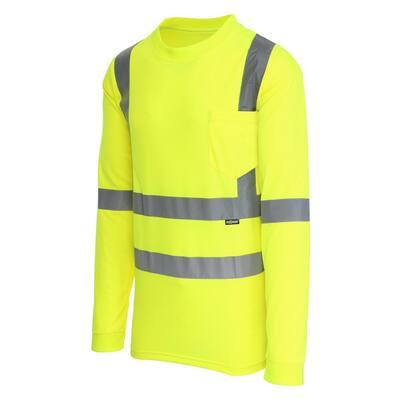 Unisex Medium Hi-Visibility Yellow ANSI Class 3 Long Sleeve Shirt
