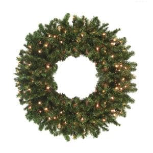 8 ft. Pre-Lit High Sierra Pine Commercial Artificial Christmas Wreath - Clear Lights