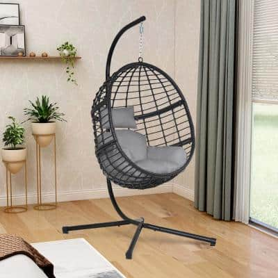 Black 78 in. Wicker Outdoor Basket Swing Chair with Stand and Grey Cushion