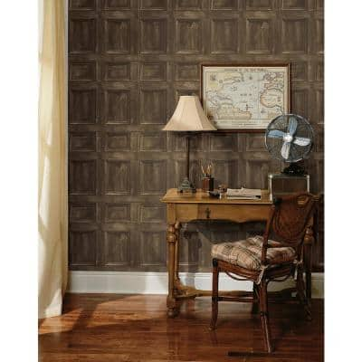Club Room Wheat Wood Panels Paper Strippable Wallpaper (Covers 56.4 sq. ft.)