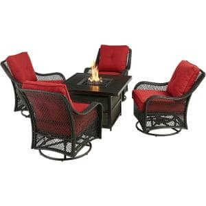 Orleans 5-Piece Aluminum Patio Fire Pit Set with Red Cushions, 4 Wicker Rocker Chairs, 38 in. Gas Fire Pit Table w/ Lid