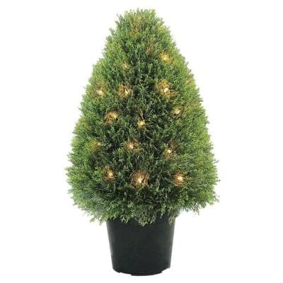 30 in. Upright Juniper Tree with Green Round Growers Pot with 50 Clear Lights