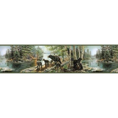 Salvador Green Bear Necessities Green Wallpaper Border