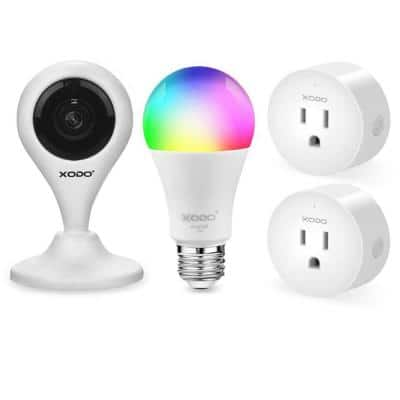 Smart Home Security Surveillance Kit with 1080p Camera, 60-Watts Smart Bulb,Smart Home Plug, App Controlled,Easy install