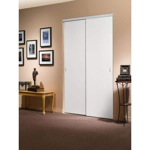 Impact Plus 72 In X 80 In Smooth Flush Solid Core Primed Mdf Interior Closet Sliding Door With Chrome Trim Sfp342 7280c The Home Depot