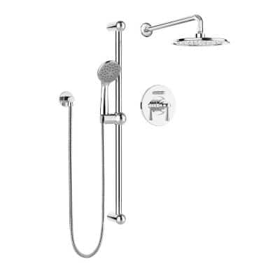 Belanger 1-Spray Round Hand Shower and Showerhead Combo Kit with Slide Bar and Valve in Polished Chrome