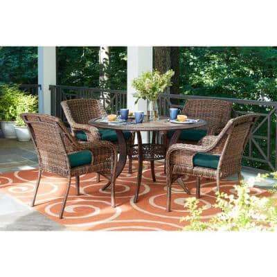 Cambridge 5-Piece Brown Wicker Outdoor Patio Dining Set with CushionGuard Malachite Green Cushions