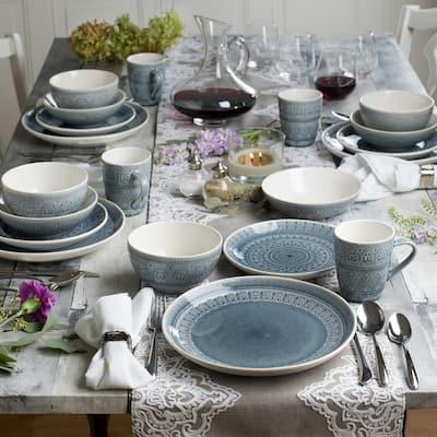 Fez 20-Piece Bohemian Grey Stoneware Dinnerware Set (Service for 4)