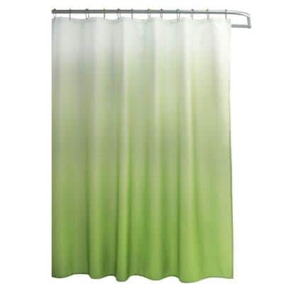 Ombre Lime 70 in. x 72 in. Texture Printed Shower Curtain Set with Beaded Rings