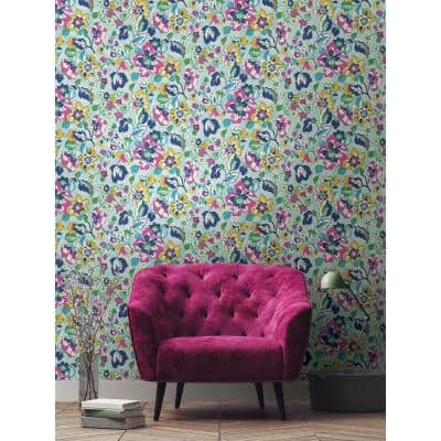 Turquoise Sunny Garden Peel and Stick Wallpaper