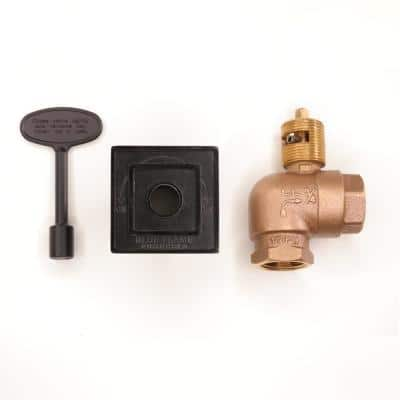 Universal Square Gas Valve Flange and 3 in. Key with 3/4 in. Quarter Turn Angled Valve 150,000 BTU in Flat Black