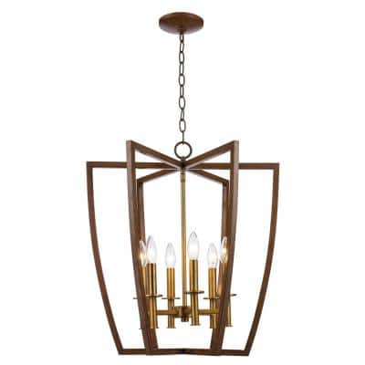 Carmen Too 6-Light Antique Gold Caged Chandelier with Metal Shade