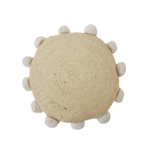 LR Home - Rustic Natural Braided Pom Pom Jute Durable Poly-Fill 20 in. x 20 in. Round Throw Pillow
