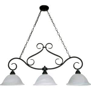 Adria 3-Light Textured Flat Black Island Pendant with Alabaster Swirl Glass