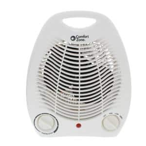 750/1,500-Watt Fan-Forced Electric Portable Heater with Thermostat in White