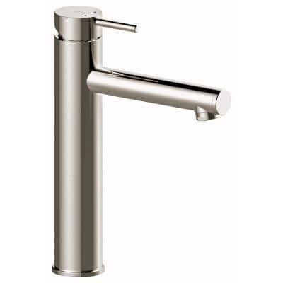 7 in Modern Single Hole Single-Handle Tall Bathroom Faucet including Pop-up drain in Brushed Nickel