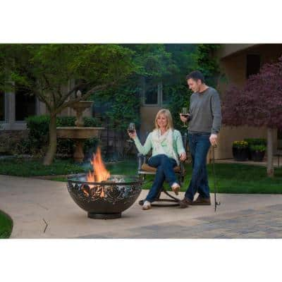 Autumn Leaves 32 in. x 17 in. Round Steel Wood Fire Pit Kit with Spark Screen and Poker