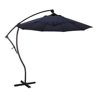 9 ft. Bronze Aluminum Cantilever Patio Umbrella with Crank Open 360  Rotation in Navy Sunbrella