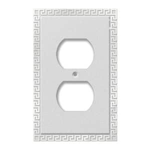 Greek Key 1 Gang Duplex Metal Wall Plate - Frosted Chrome